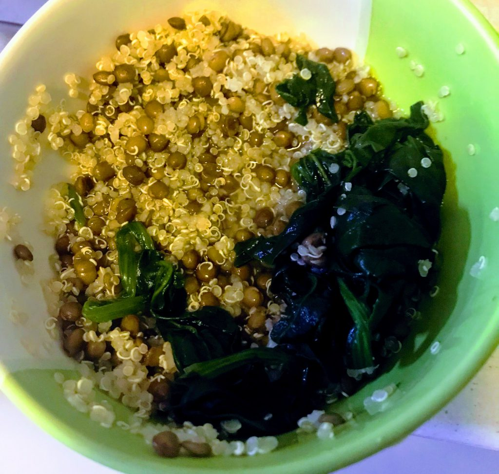 quinoa with lentils and spinach